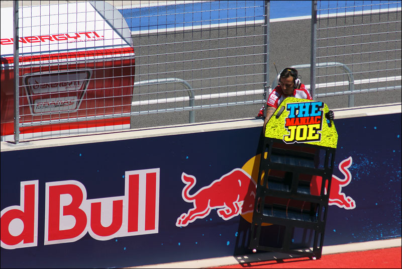 "Andrea ""The Maniac Joe"" Iannone's pit board waits for him during qualifying at the inaugural Motorcycle Grand Prix of the Americas"
