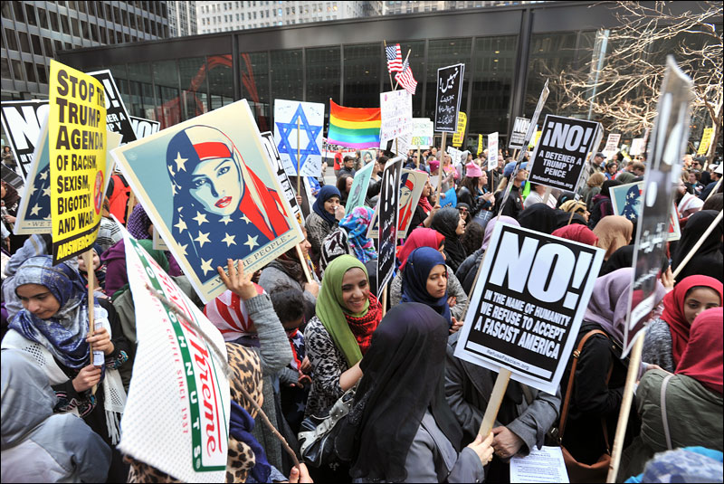 anti-Trump protesters gather at Federal Plaza to protest the Muslim Ban