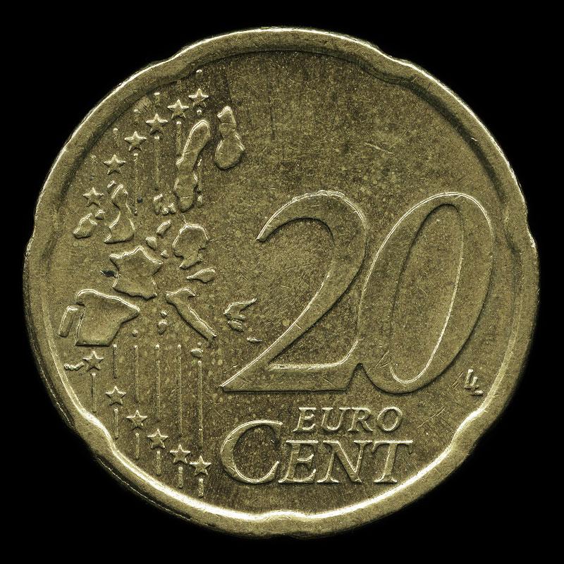 an Austrian twenty euro cent coin featuring Belvedere Palace