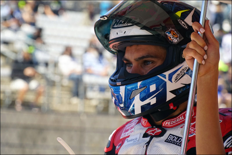 Spanish Moto2 rider Jorge Navarro takes a quiet moment before his race at the 2018 Motorcycle Grand Prix of the Americas