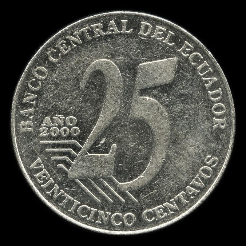 an Ecuadorian 25 centavo coin featuring a portrait of former president José Joaquín de Olmedo
