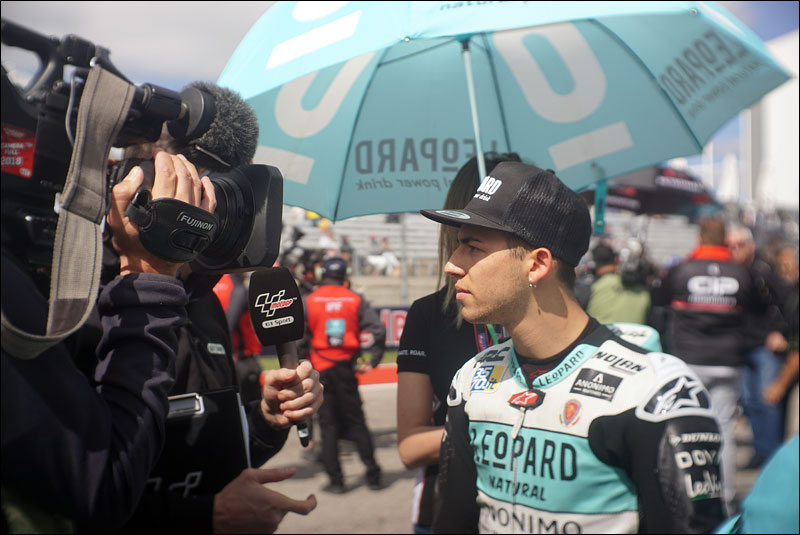 Italian Moto3 rider Enea Bastianini gives a quick interivew before the race at the 2018 Motorcycle Grand Prix of the Americas