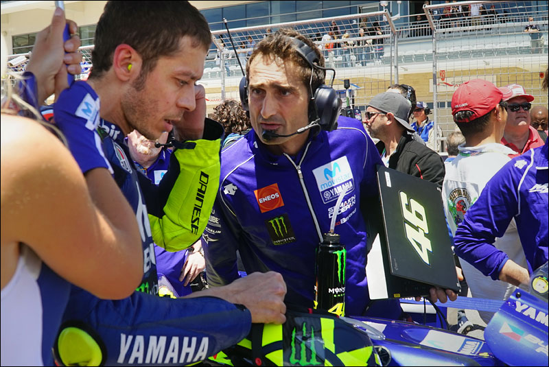 Italian MotoGP legend Valentino Rossi chats with his data engineer Matteo Flamigni before the race at the 2018 Motorcycle Grand Prix of the Americas
