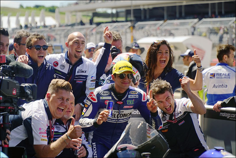 Spanish Moto3 rider Jorge Martín celebrates with his team after his victory at the 2018 Motorcycle Grand Prix of the Americas