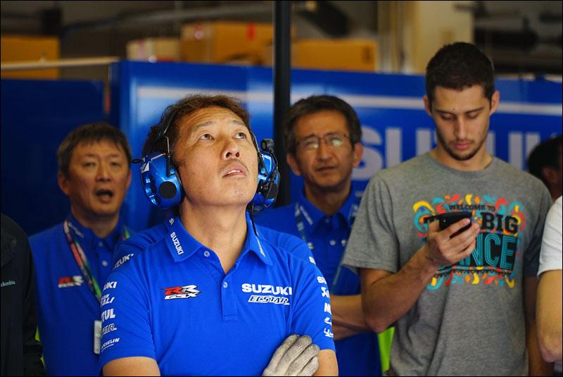 Italian MotoGP rider Andrea Iannone's team monitors his progress during the 2018 Grand Prix of the Americas