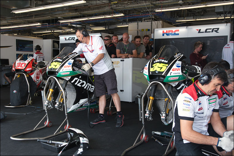 the LCR Honda MotoGP crew ready the bikes for Japanese rider Takaaki Nakagami and British rider Cal Crutchlow at the 2018 Motorcycle Grand Prix of the Americas
