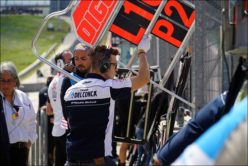 Italian Moto3 rider Fabio Di Giannantonio's team put his pit board out during the 2018 Motorcycle Grand Prix of the Americas