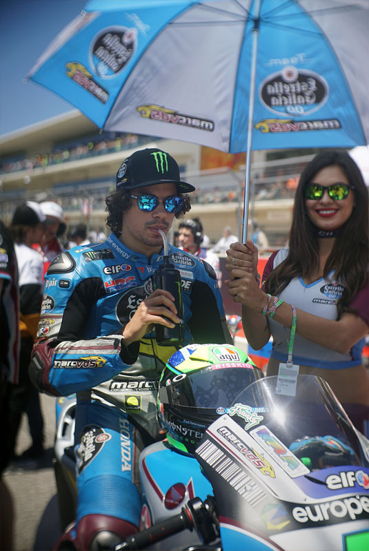 Italian MotoGP rider Franco Morbidelli readies himself before the MotoGP race at the 2018 Grand Prix of the Americas