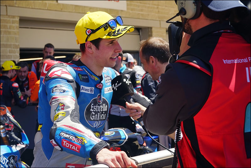 Spanish Moto2 rider Álex Márquez talks to reporters after finishing in second place at the 2018 Grand Prix of the Americas