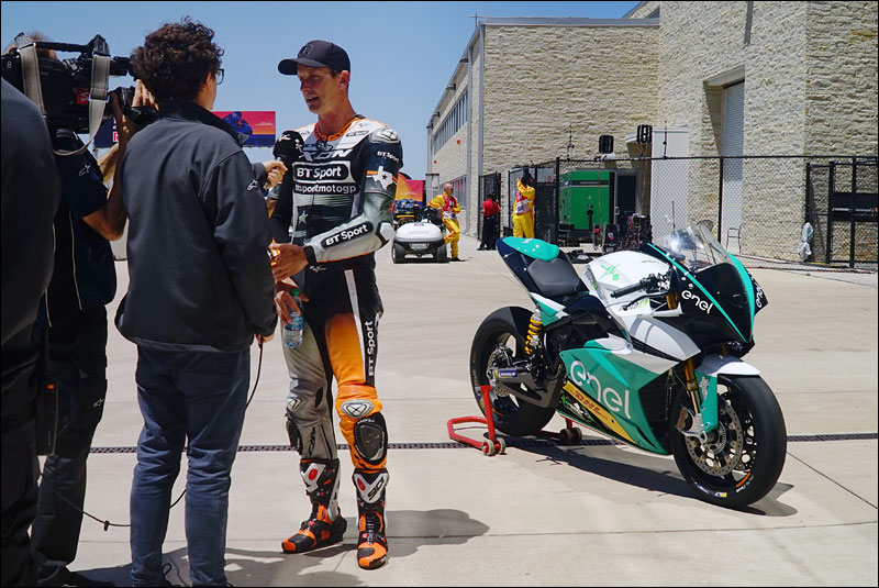former Superbike world champion Colin Edwards addresses the media after giving the MotoE electric race bike a shakedown lap at the 2018 Grand Prix of the Americas