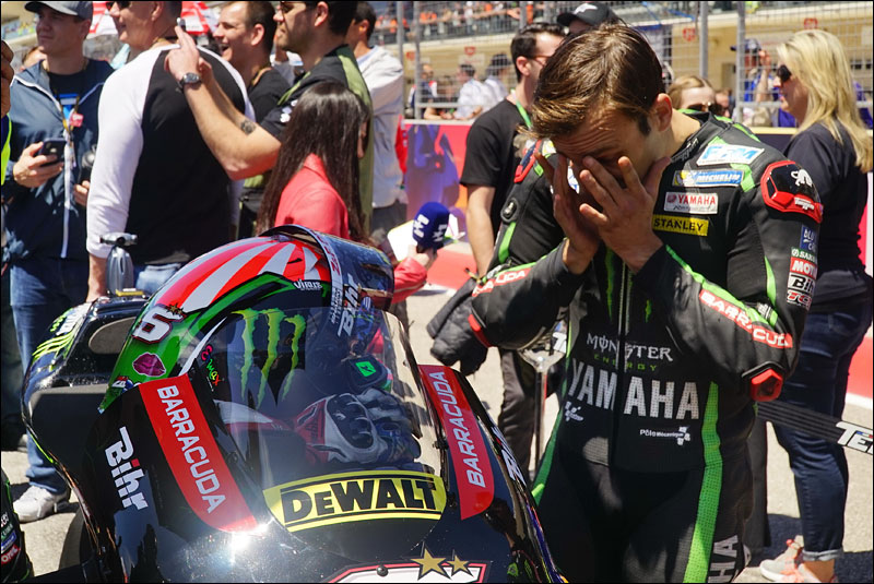 French MotoGP rider Johann Zarco readies himself before the race at the 2018 Grand Prix of the Americas