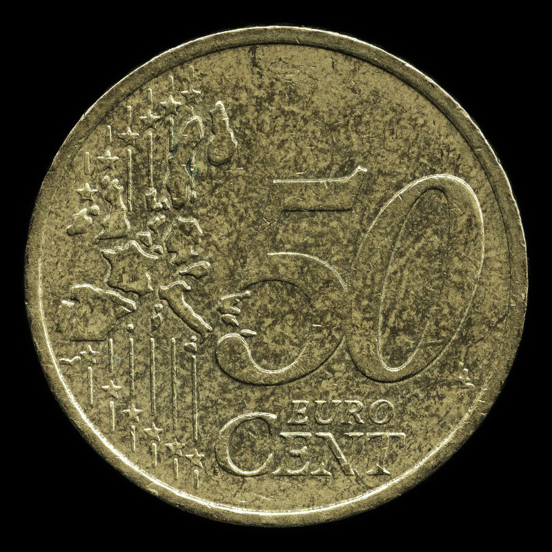 a French 50 Euro cent coin featuring Oscar Roty's 'La Semeuse' (The Sower)
