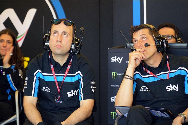 the crew of Italian Moto2 ride Luca Marini monitor his progress during the 2018 Grand Prix of the Americas