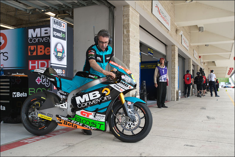 British Moto2 rider Danny Kent has his bike rolled out of his garage in preparation for practice at the 2018 Grand Prix of the Americas