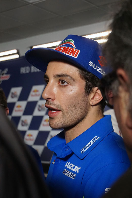 Italian MotoGP rider Andrea Iannone addresses the press after qualifying at the 2018 Grand Prix of the Americas