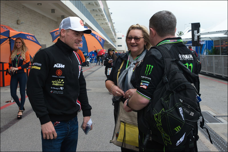 Moto2 rider Sam Lowes greets fans at the 2018 Grand Prix of the Americas