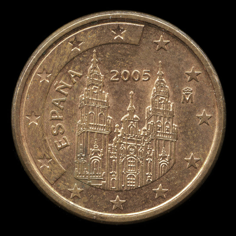 a Spanish one euro cent coin featuring the cathedral of Santiago de Compostela