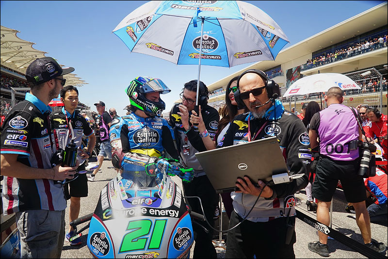 Italian MotoGP rider Franco Morbidelli consults with his engineers before the race at the 2018 Grand Prix of the Americas