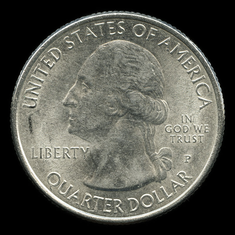 an American 25 cent coin commemorating the 1777 British surrender at the Battle of Saratoga
