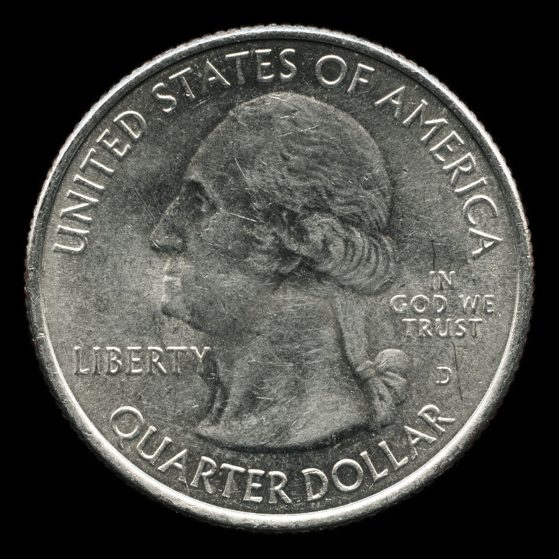 an American 25 cent coin commemorating Fort McHenry