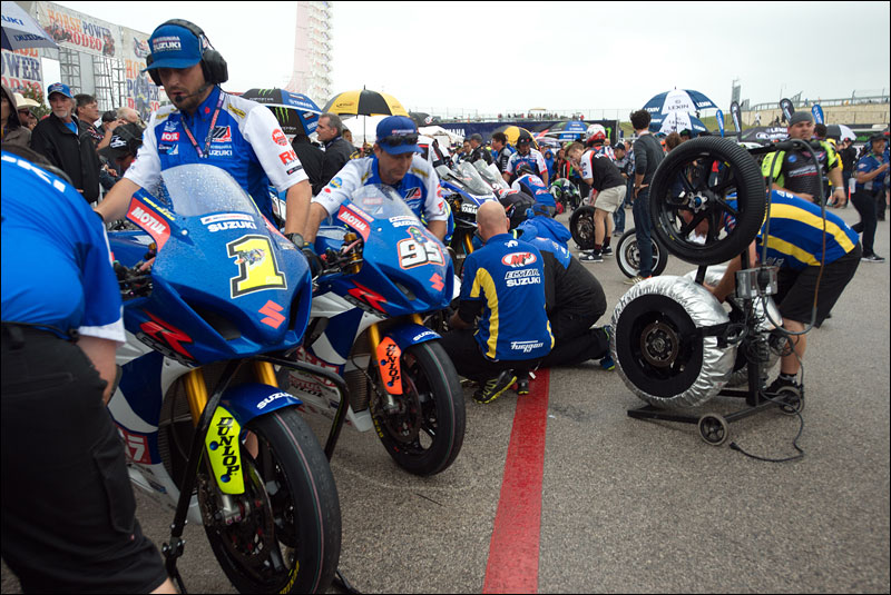 the MotoAmerica Superbike class readies their bikes for race one at the 2018 Motorcycle Grand Prix of the Americas