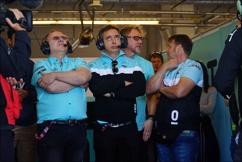 the crew of Italian Moto3 rider Enea Bastianini monitor his progress during the race at the 2018 Motorcycle Grand Prix of the Americas
