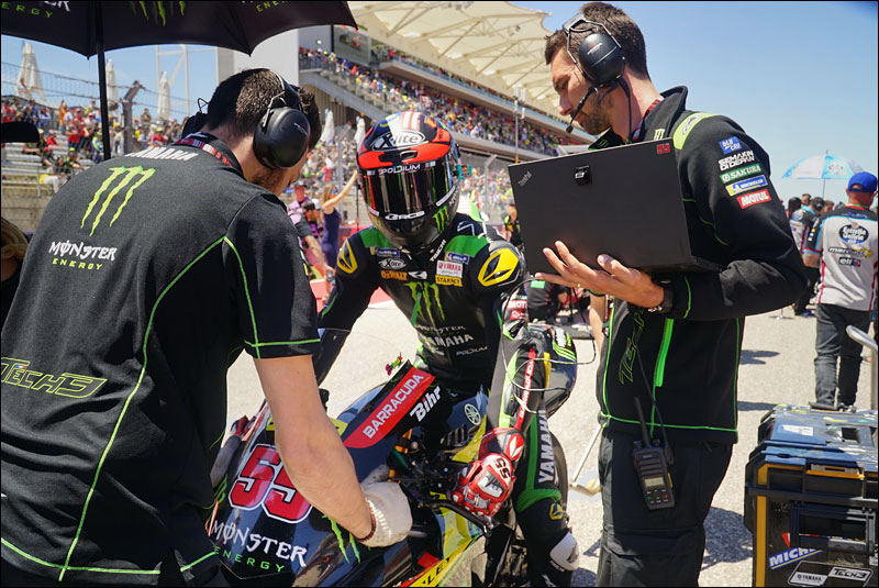 Malaysian MotoGP rider Hafizh Syahrin gets ready to race at the 2018 Motorcycle Grand Prix of the Americas