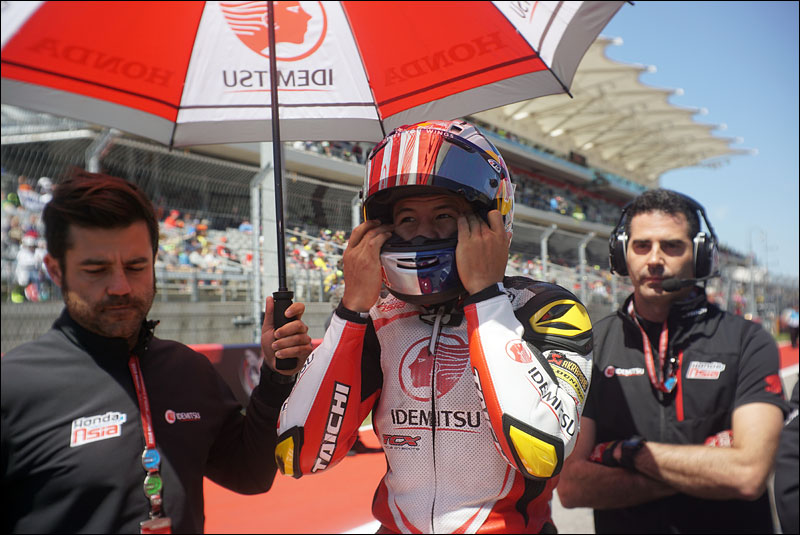 Malaysian Moto3 rider Khairul Idham Pawi readies himself before the race at the 2018 Grand Prix of the Americas