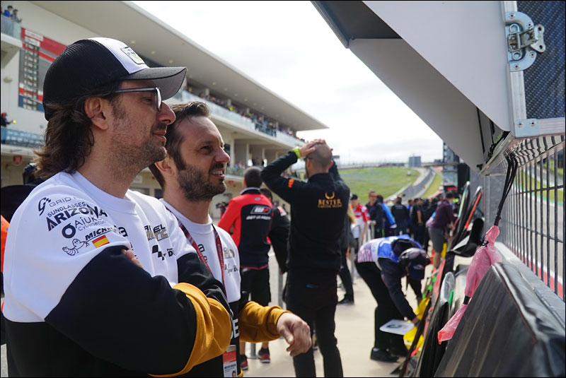 Ángel Nieto Team members monitor the progress of Moto3 riders Albert Arenas and Andrea Migno at the 2018 Grand Prix of the Americas
