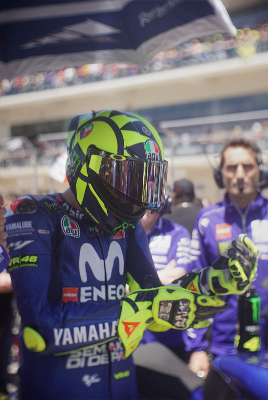 Italian MotoGP rider Valentino Rossi tightens his gloves before the big race at the 2018 Motorcycle Grand Prix of the Americas