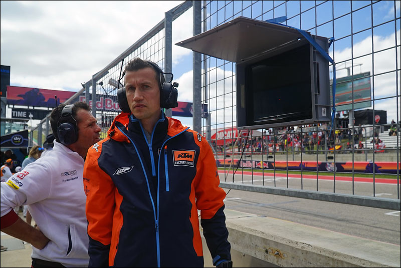 South African Moto2 rider Brad Binder's team checks on his race progress at the 2018 Motorcycle Grand Prix of the Americas