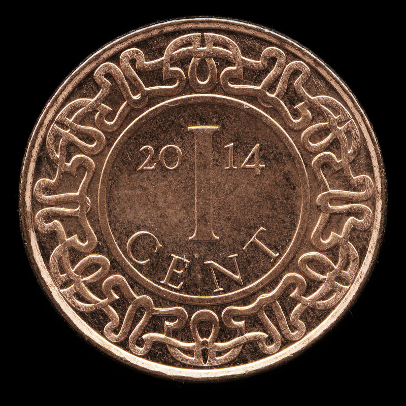 a one cent coin from Suriname featuring the national coat of arms