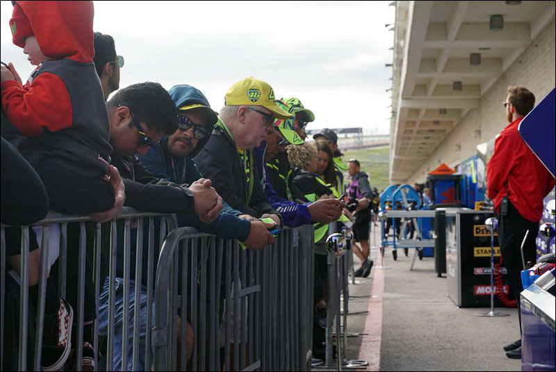 Valentino Rossi fans wait for their hero to come out and greet them after practice at the 2018 Motorcycle Grand Prix of the Americas
