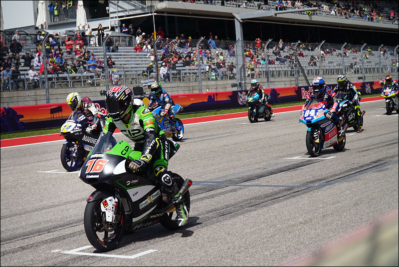 Moto3 riders line up for the race start at the 2018 Grand Prix of the Americas