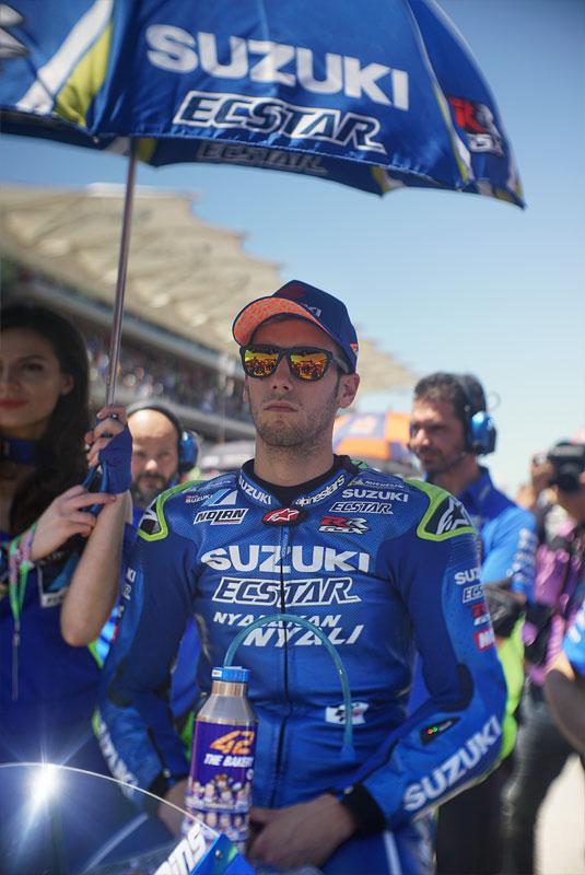 Spanish MotoGP rider Alex Rins readies himself before the 2018 Motorcycle Grand Prix of the Americas