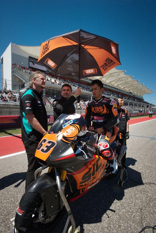 Malaysian Moto2 rider Zulfahmi Khairuddin gets ready to race at the 2018 Motorcycle Grand Prix of the Americas