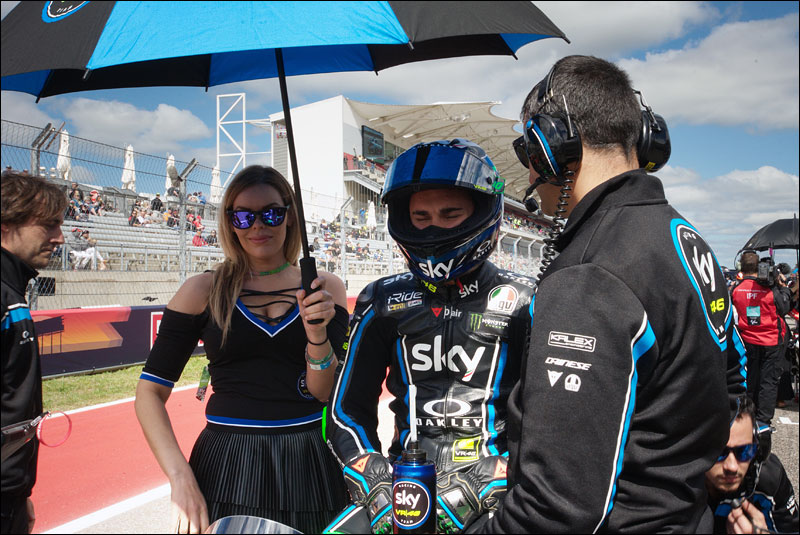 Italian Moto3 rider Dennis Foggia readies himself before the race at the 2018 Grand Prix of the Americas